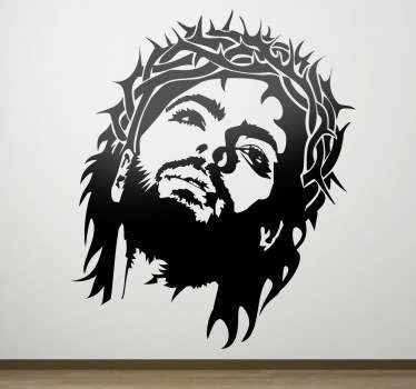 A monochrome decal from our collection of Christian wall art stickers illustrating Jesus with the crown of thorns.