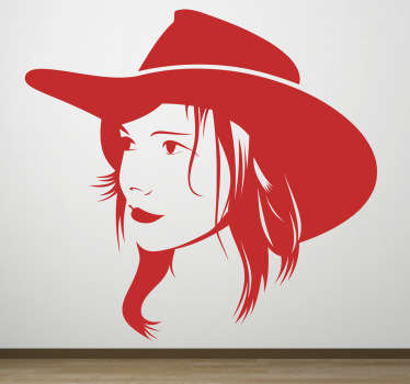 Wall Stickers - Silhouette illustration of a female wear a cow boy hat. Available in various sizes and in 50 colours. Long lasting decals.