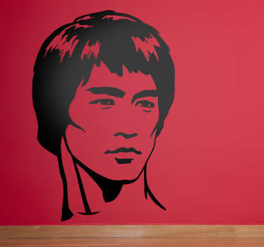 Sticker hoofd Bruce Lee