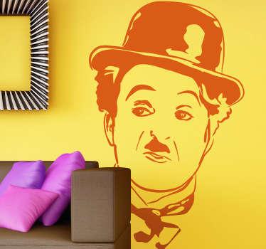 Divertido retrato en adhesivo de este icono del cine mudo de principios del siglo XX.