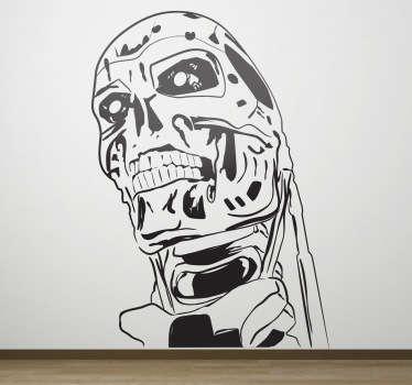 Espectacular adhesivo monocromo con el busto del famoso robot de esta saga de filmes futuristas.