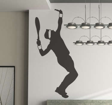 Tennis wall sticker of a silhouette outline of a professional male tennis player making a serve, from our collection of sports wall stickers. Create an action-packed atmosphere in any room with this excellent freeze frame.