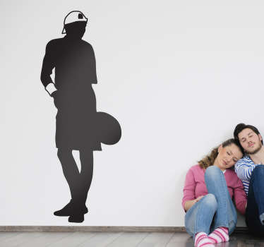 Wall Stickers - Original silhouette outline of a professional tennis player about to make a serve.