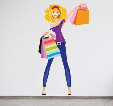 A great fashion wall sticker illustrating a woman dressed with style holding many shopping bags! Discounts available now.