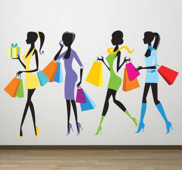 A colourful fashion wall sticker illustrating a queue of women holding their shopping bags! Discounts available. High quality.