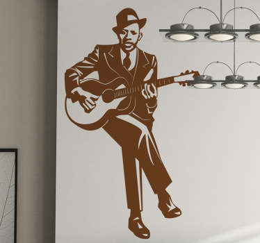 Iconographic rendering on sticker of one of the most famous blues musicians, Robert Johnson. A drawing wall decal perfect for your living room.