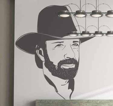 A great silhouette decal of the arch enemy of Bruce Lee, from the famous Walker Teas Ranger, Chuck Norris!