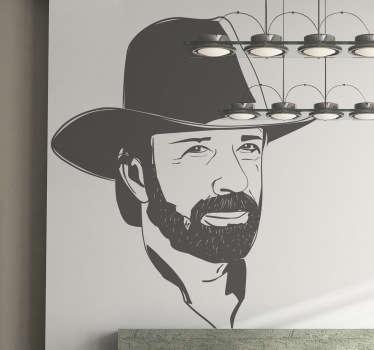 Sticker decorativo ritratto Chuck Norris
