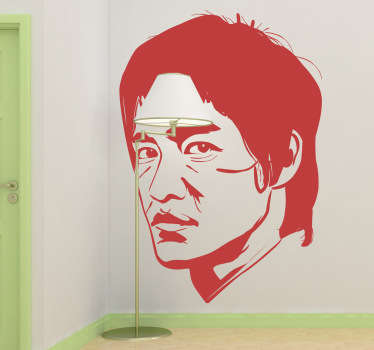 Stickers du portrait de Bruce Lee, le maestro des arts martiaux.