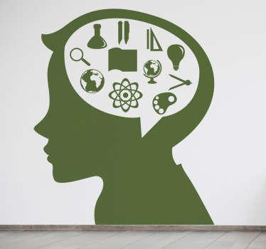 Autocollant enfant profil cerveau études