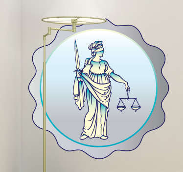 Lady Justice wall sticker illustrating a justice medal to decorate your office or your workplace. Are you a person that believes in the power of the law? If yes, then this legal decal is perfect to show your strong beliefs to everyone. Adds a touch of originality to the room too!