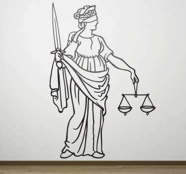 A justice wall sticker illustrating meaningful and symbolic elements of Lady Justice such as the blindfold, scale and sword. Great monochrome decal to decorate your own office and work with the right environment!