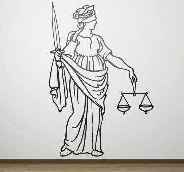 Vinilo decorativo dibujo línea justicia