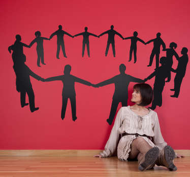 A silhouette wall sticker illustrating a human circle for those that believe in the saying; all for one and one for all.