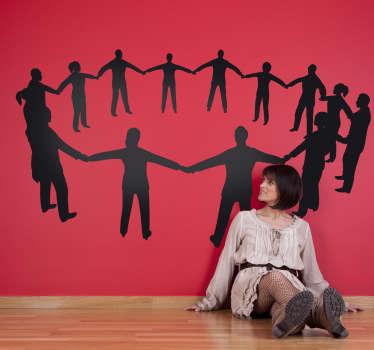 Autocollant mural cercle humain