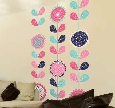Sticker frise verticale dessin fleurs