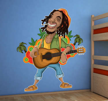 Sticker decorativo chitarrista giamaicano