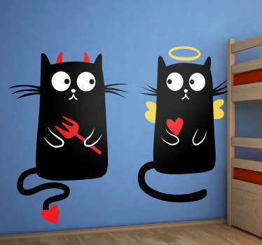 Playful and fun cat wall sticker showing two black cats looking at each other; one with devil horns and a trident to represent evil, one with angel wings, a halo and a love heart to represent good. Available in various sizes. High quality wall stickers.