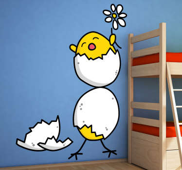 A playful and fun kids wall sticker of two yellow chicks hatching from their eggs holding a spring daisy. A decal from our collection of funny wall stickers! If your children love animals then this is the perfect wall decoration to personalise their bedroom or nursery!