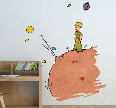 A colourful kids sticker illustrating The Little Prince of Saint-Exupéry! A fascinating design to bring colour into your child's bedroom.