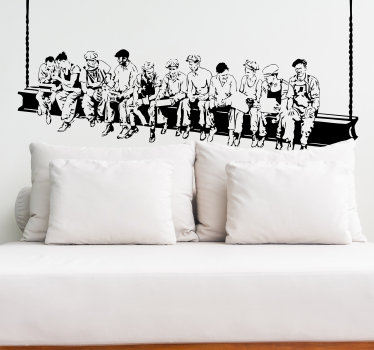 A fantastic monochrome wall sticker based on a famous black and white picture from the early 20th century showing construction workers on a break.