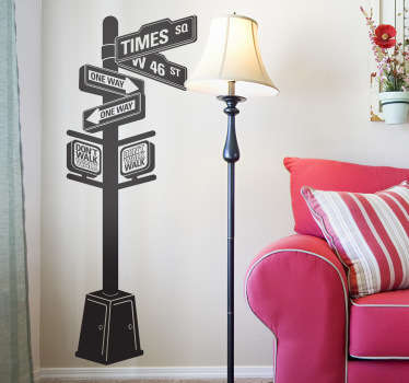 An iconic wall sticker illustrating a panel of directions in New York City. Great travel decal for those looking to decorate their living room.