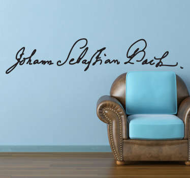 A wall sticker with the name of the world-famous German composer Johann Sebastian Bach.