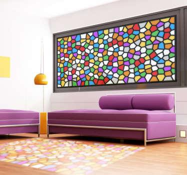 Renkli leke cam mozaik pencere etiketi