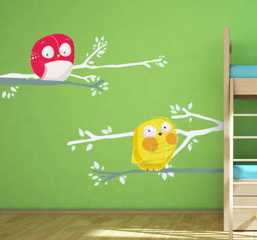 Kids Wall Stickers - Playful illustration of two owls, red and yellow, resting on a branch