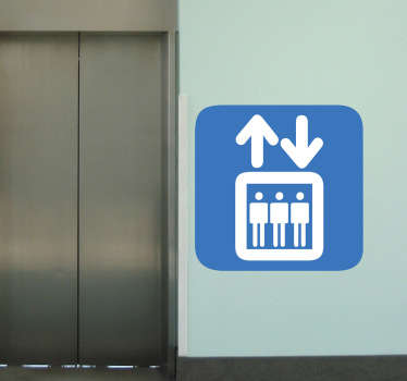 A superb icon wall sticker indicating a sign that shows there is a lift near by. Superb sign decal to place in commercial areas.