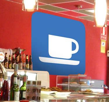 Indicación básica y clara en vinilo de esquinas redondeadas con taza de color blanco sobre fondo azul.