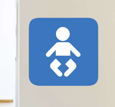 This baby sign sticker is for doors where babies can be changed inside. The baby changing sticker is used in businesses, restaurants, shops and public places.