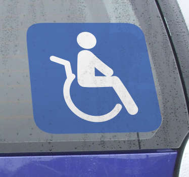 An icon wall sticker that indicates that a specific space is reserved for people with disabilities.