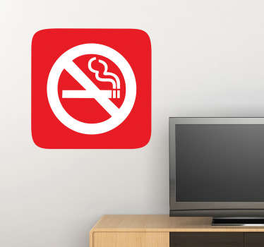 An icon wall sticker illustrating a red sign indicating that a specific area within the premises is a non-smoking area.