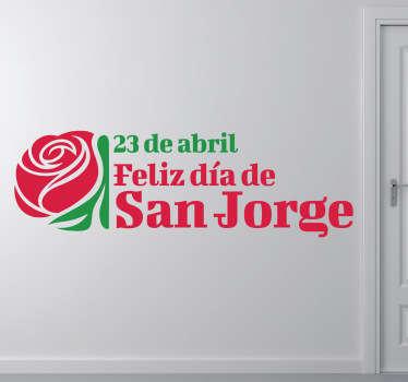 Original diseño en vinilo de dos colores para conmemorar el día del libro y la rosa.