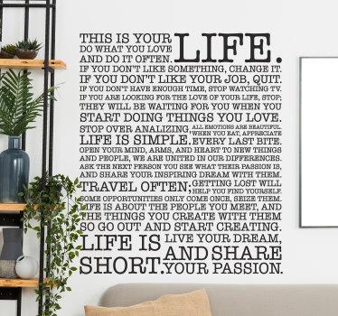 Sticker decorativo lezioni di vita
