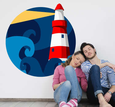 Decorate your room with this colorful decal of a lighthouse at night from our collection of sea wall stickers.