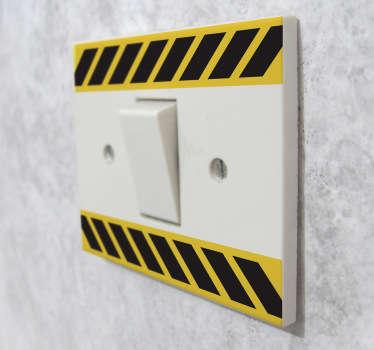 Naklejka na włącznik światła taśma ostrzegawcza