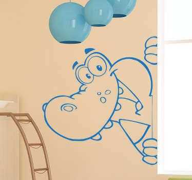 Cartoon kids sticker of a happy cheeky crocodile. Design blends in well with any coloured background. Wild animal themed wall sticker is easy to apply and available in various colours and sizes.