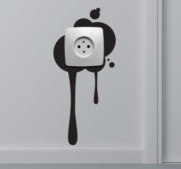 Paint splatter light switch sticker to add some character to all corners of your home! This simple monochrome wall sticker of a splodge of paint dripping down behind a plug socket or light switch is available in 50 different colours!