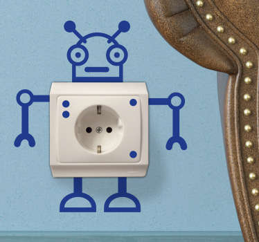 Morsom robot stikkontakt klistremerke
