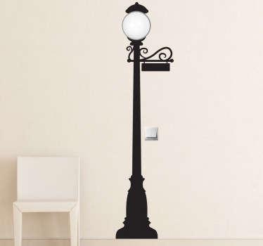 A vintage wall sticker of an elegant street light that will give your home a magnificent atmosphere and a classical look.