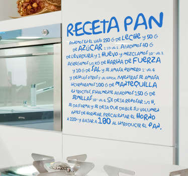 Vinilo decorativo receta pan