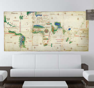 A wall sticker of an old and classic design from the world map. Here you can see how people mapped the world or thought about it.