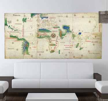 Autocollant mural carte du monde ancienne