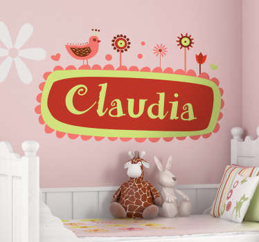 Personalised Name Birds and Flowers Kids Sticker