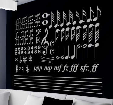A sticker with a collection of different characteristic elements of musical writing. Discounts available. Custom made to order.