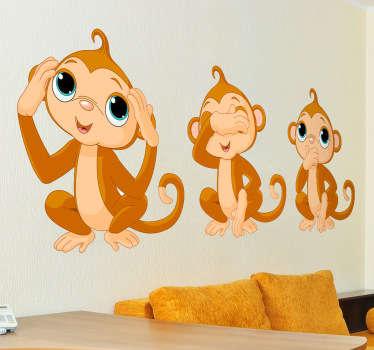 三只猴子小孩贴纸