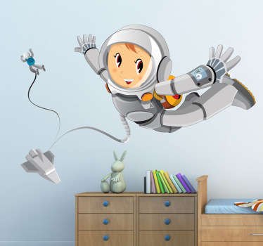 A fantastic space wall sticker illustrating a happy astronaut exploring the mysteries of space. If your children love rockets and love the different planets and stars in our space then this is the right decal to make their play time even more fun!