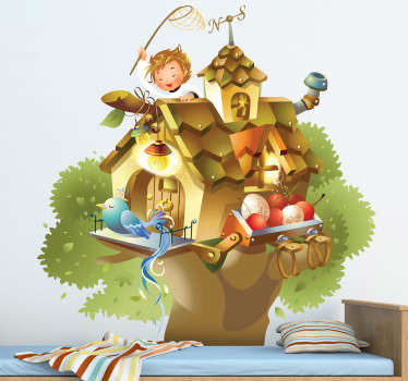 дети птица дерево дом стены стикер